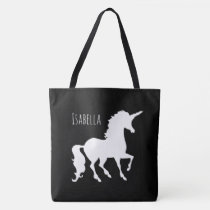 Black and White Unicorn Silhouette Modern Trendy Tote Bag