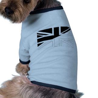 Black and White Union Jack British(UK) Flag Dog T-shirt