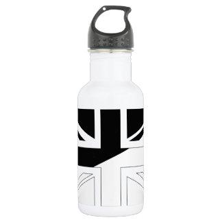 Black and White Union Jack British(UK) Flag Water Bottle