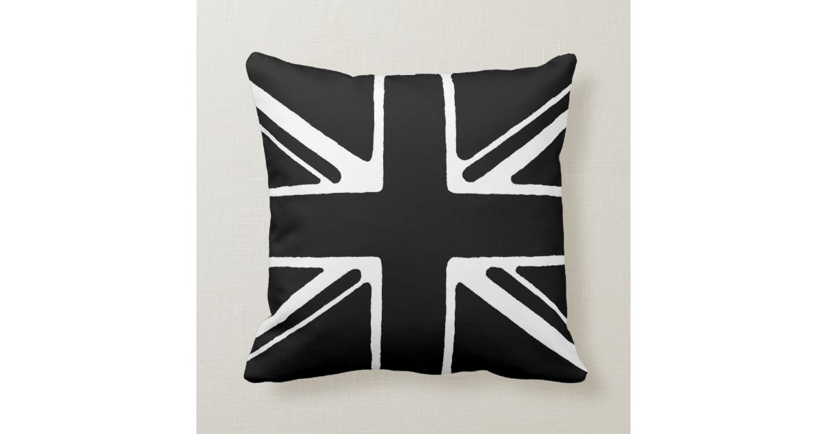 Black And White Union Jack Throw Pillow Zazzle Com