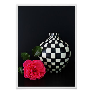 Black and white vase with a red rose poster