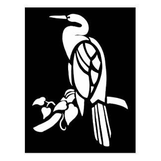 Black and white vector art, birds: heron in tree postcard