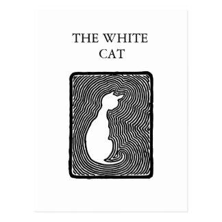 Black and white vector art The White Cat template Postcard