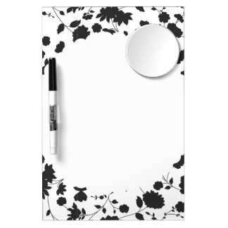 Black and White Vector Floral Pattern Dry Erase Board With Mirror