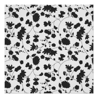 Black and White Vector Floral Pattern Poster
