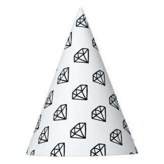 Black and white version of diamond party hat