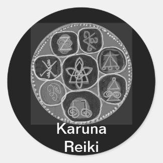 Black and White Version - Reiki n Karuna Classic Round Sticker