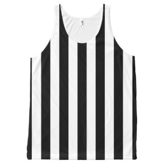 Black and White Vertical Referee Stripes All-Over Print Tank Top