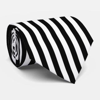 Black and White Vertical Referee Stripes Neck Tie