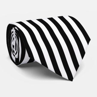 Black and White Vertical Referee Stripes Neck Tie