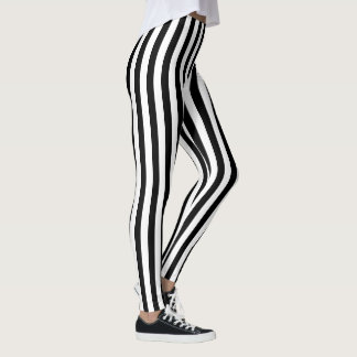 Black and White Vertical Stripes Pattern Leggings
