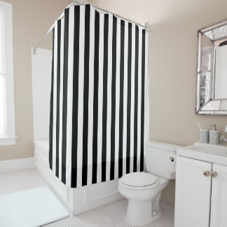Black Striped Shower Curtains Zazzle - Gray and white striped shower curtain