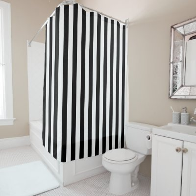 black and white striped shower curtain.  Black and White Vertical Stripes Shower Curtain Zazzle com