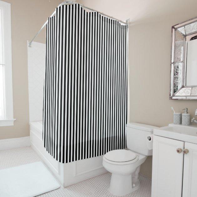 Black And White Vertical Stripes Shower Curtain Zazzle Com