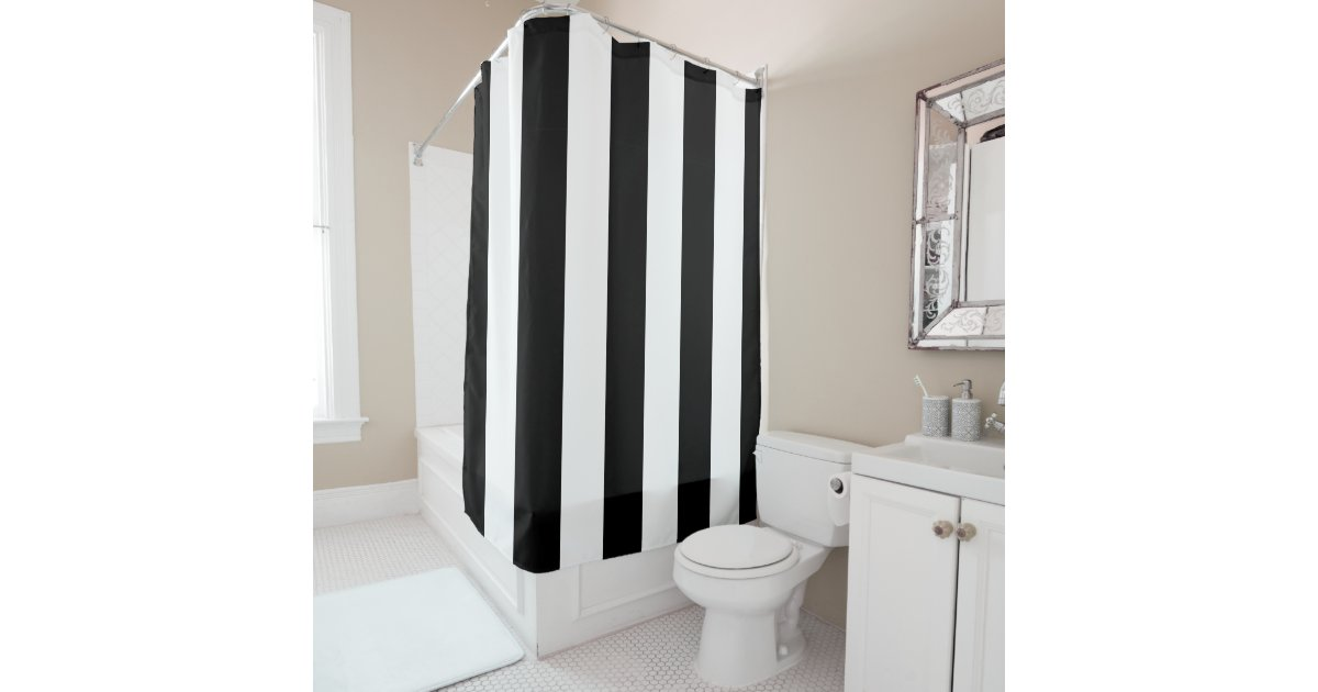Black And White Vertical Stripes Shower Curtain Zazzle