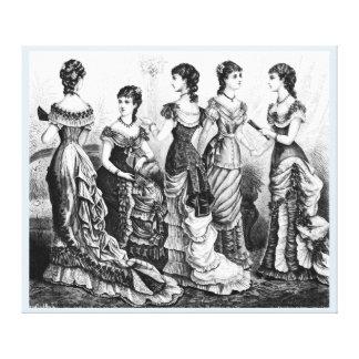 Black And White Victorian Fashions Canvas Print
