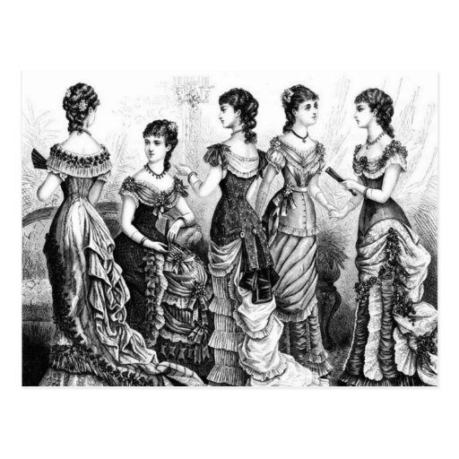 Black And White Victorian Fashions Post Card