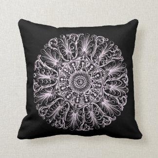 Black and White Victorian Rosette Design Pillow