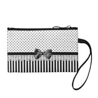 Black And White Victorian Stripes With Bow Coin Purse