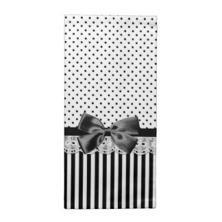 Black And White Victorian Stripes With Bow Cloth Napkin