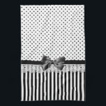 """Black And White Victorian Stripes With Bow Kitchen Towel<br><div class=""""desc"""">A girly Victorian style black and white pattern with stylish polka dots on the top and trendy style stripes on the bottom divided by eyelet lace and a black ribbon tied into a chic bow.</div>"""