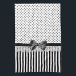 "Black And White Victorian Stripes With Bow Kitchen Towel<br><div class=""desc"">A girly Victorian style black and white pattern with stylish polka dots on the top and trendy style stripes on the bottom divided by eyelet lace and a black ribbon tied into a chic bow.</div>"