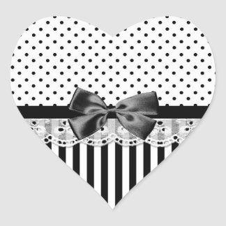Black And White Victorian Stripes With Bow Lace Heart Sticker