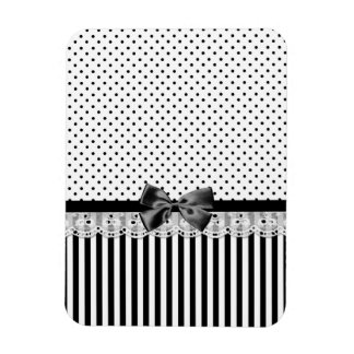 Black And White Victorian Stripes With Bow Rectangular Photo Magnet