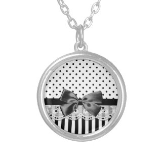 Black And White Victorian Stripes With Bow Silver Plated Necklace
