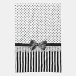 Black And White Victorian Stripes With Bow Towels