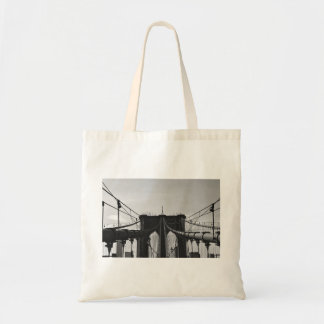 Black and white view of bridge budget tote bag