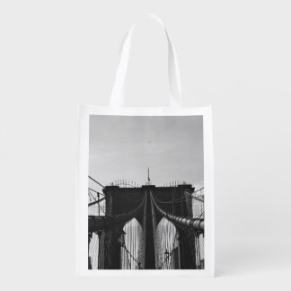Black and white view of bridge reusable grocery bags
