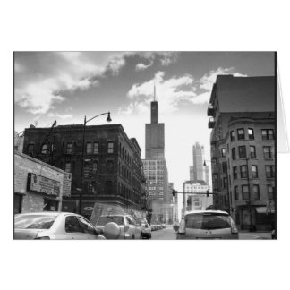 Black and White View of Sears Tower Greeting Card