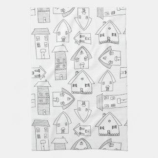 Black and White Village American MoJo Kitchen Towe Towel