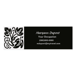 Black and White Vine Leaves Modern Business Card