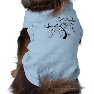 Black and White Vine or Tree Built with Flourishes Pet T-shirt