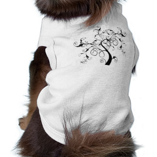 Black and White Vine or Tree Built with Flourishes Pet Tee