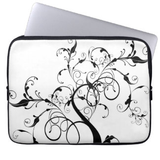 Black and White Vine or Tree Built with Flourishes Laptop Sleeves