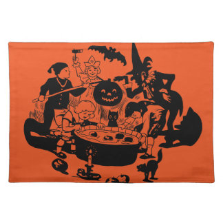 Black and White Vintage Apple Bobbing Cloth Placemat