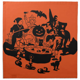 Black and White Vintage Apple Bobbing Napkin