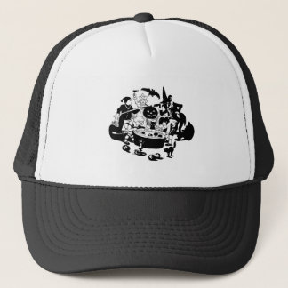 Black and White Vintage Apple Bobbing Trucker Hat