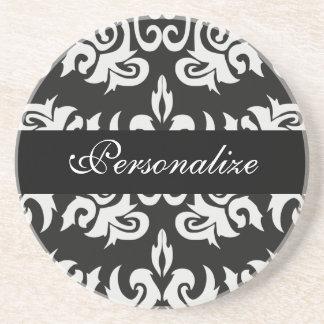 Black and White Vintage Damask Coaster