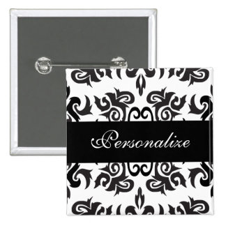 Black and White Vintage Damask Designs 2 Inch Square Button