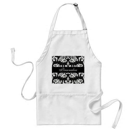 Black and White Vintage Damask Designs Adult Apron