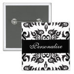 Black and White Vintage Damask Designs Button