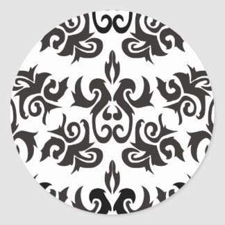 Black and White Vintage Damask Designs Classic Round Sticker
