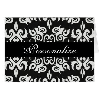 Black and White Vintage Damask Designs Greeting Card