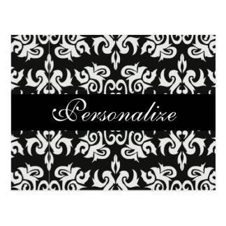 Black and White Vintage Damask Designs Postcard
