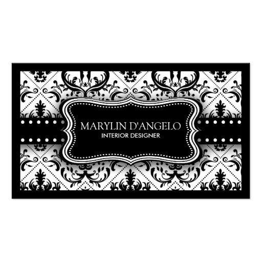 Damask interior designer business card zazzle - Black And White Vintage Damask Interior Designer Business
