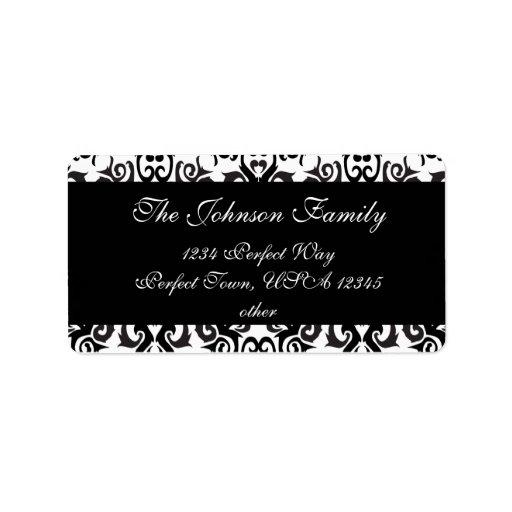 Black and White Vintage Damask Labels